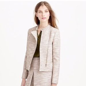 J.Crew | asymmetrical jacket in pink pepper tweed